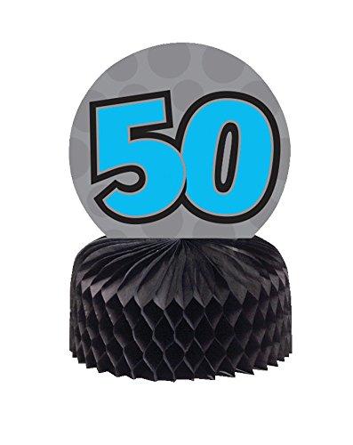 Mini Honeycomb Centerpieces (Creative Converting 261436 3 Count Mini Honeycomb 50 Centerpiece, Black/Gray/Blue)
