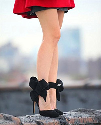 Z&L Women's Pointy Toe Suede High Heel Stiletto Pumps with Big Bowknot Black US 7