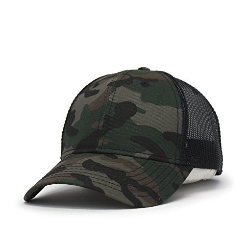 Vintage Year Plain Two Tone Cotton Twill Mesh Adjustable Trucker Baseball Cap (Camo/Black (Camo Mesh Hat)