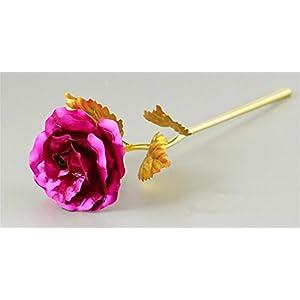 Heads Orchid Foil Plated Rose Gold Rose Wedding Decoration Flower Lover's Rose Artificial Rose pink 14