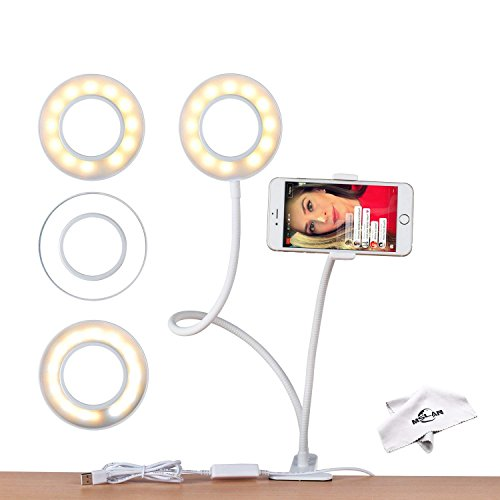 Selfie Ring Light with Cell Phone Holder Stand for Live Stream & Makeup,MSLAN LED Camera Light [3-Light Mode] [9-Level Brightness] 360 Rotating for Android Phone iPhone 8 7 6 Plus X 6s by MSLAN