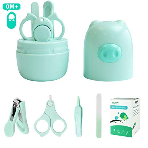 Baby Manicure Kit,RONBEI Baby Nail Clipper,Baby Grooming Set Nail Care Kit for Infant,Newborn & Toddler,with Baby Clipper,Scissors,File & Tweezers (Green)
