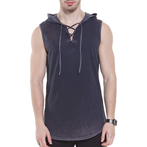 YANWENFANG Men's Sleeveless T-Shirt Hoodie Fashion Lace Up V Neck Black Hipster Tank ()
