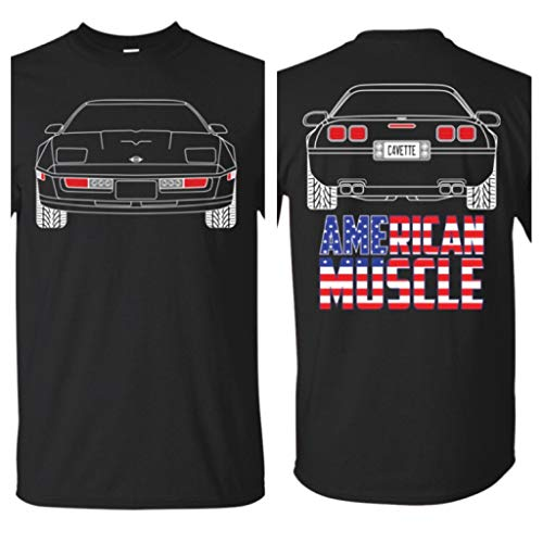 WheelSpinAddict C4 Corvette Outline Double Sided American Muscle T-Shirt