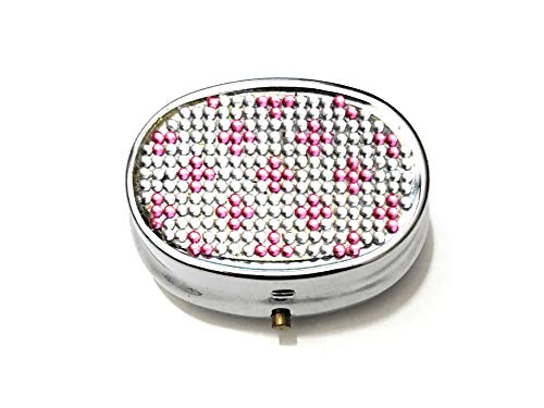 Rhinestone Small Oval Light Up Two Compartment Pill Organizer Case Box (Style 629C)