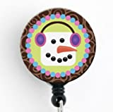 Snowman Marshmallow Winter - Retractable Badge Reel with Swivel Clip and Extra-Long 34 inch Cord - Badge Holder