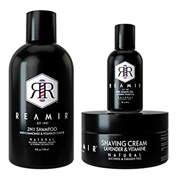 Amazon Com Reamir Men S Essential Kit Natural 2n1 Shampoo Pre Shave Oil Shaving Cream Men S Styling Products All Natural Styling Kit Beauty