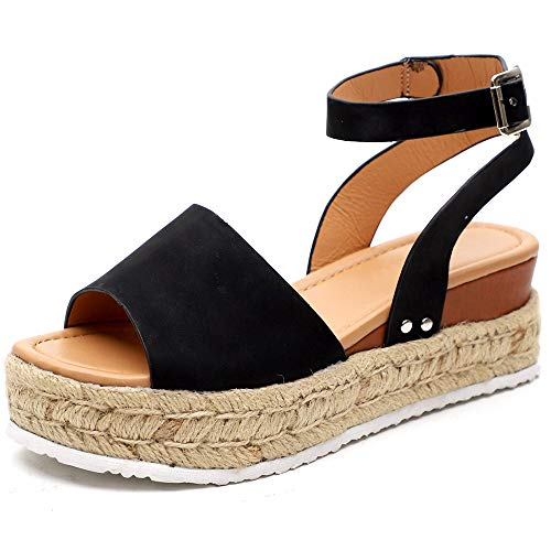 Chenghe Women's Platform Sandals Casual Espadrilles Wedge Ankle Strap Studded Summer Open Toe Sandals Black US 9
