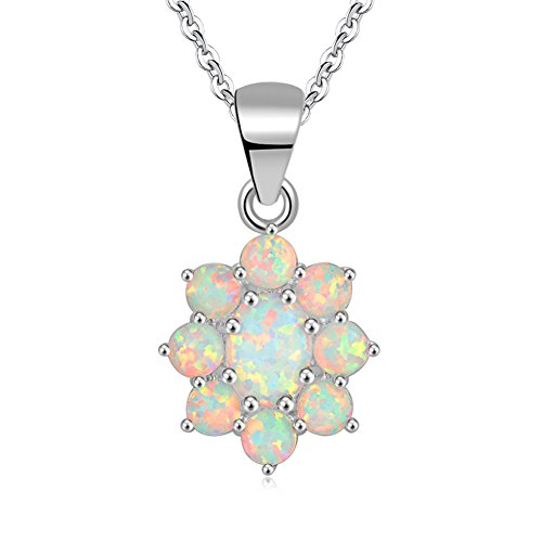 CiNily Created White Fire Opal Rhodium Plated for Women Jewelry Gemstone Pendant 1 1/8