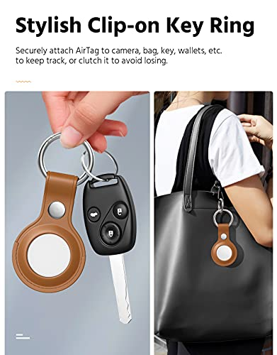 MoKo Protective Case for AirTag 2021, 2-Pack Genuine Leather Tracker Holder with Key Chain, Easy Carry AirTag Cover for Keys, Backpacks, Liner Bags, Blue & Brown