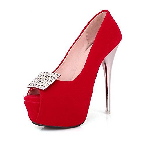 AgooLar Mujeres Sintético Tachonado Tacón de aguja Sin cordones Peep Sandalia Rojo