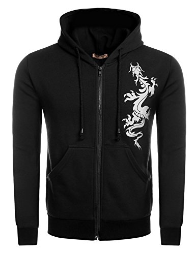 Hotouch Men's Lightweight Hoodie Jacket with Pocket Black M