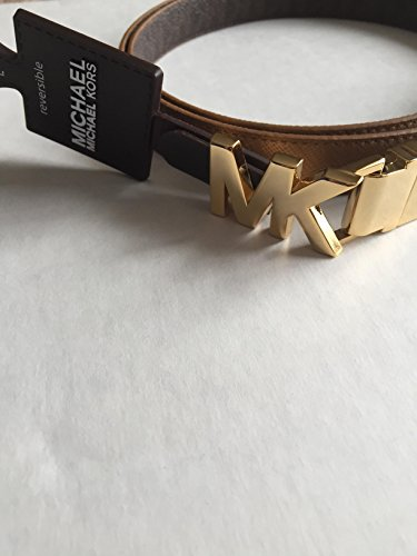[MICHAEL Michael Kors Reversible Leather Belt with MK Logo Buckle (Large)] (Michael Kors Brown Belt)