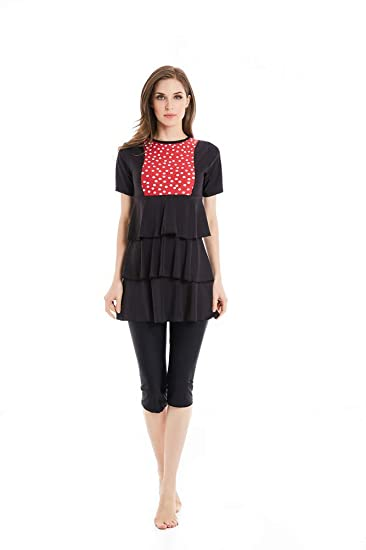 fb15cb6490db KXCFCYS Muslim Swimsuit Modest Swimsuits Islamic Swimsuits Swimwear Maillot  Short Sleeve Women Swimsuit Islam Sale: Amazon.in: Clothing & Accessories