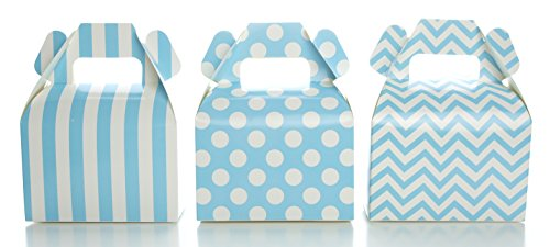 Light Blue Candy Box Set, Baby Shower Favor Boxes (36 Pack) - Winter Frozen Birthday Party Supplies, Striped, Chevron & Polka Dot Small Square Gable Wedding Gift (Gables One Light)