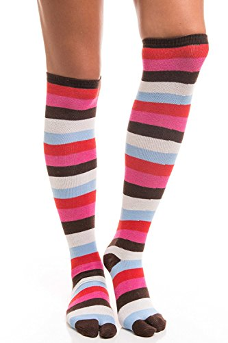 56865deb974b45 V-Toe Tabi Flip Flop Socks - Over The Knee Stripes And Black - Import ...
