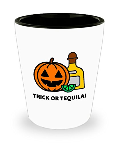Halloween Trick or Tequila Funny Gift Shot Glass Sarcastic Pumpkin Jack O'