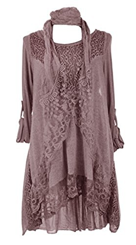 Sevello Clothig Womens Italian Lagenlook Quirky 3 Piece Lace Knit Mohair Wool (12-14 USA, Dusty Pink)
