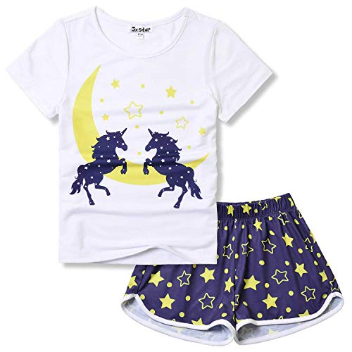 Girls Unicorn Pj Sets Summer Star Pajamas Short Sleeve Cotton Sleepwear Size 6 7