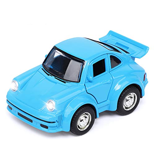 AMOFINY Baby Toys Cartoon Simulation with Sound and Light Music Back to Classic Cars Mini Pull Back Vehicle with Lights and Musict Car Model Children Kids Gifts ()