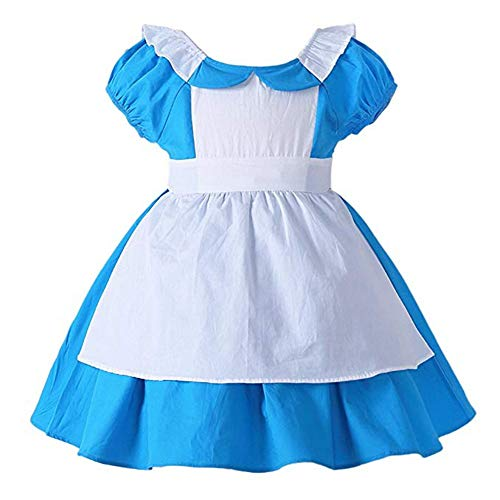 FEESHOW Toddler Baby Girls Princess Alice in Wonderland Dress up Costumes Halloween Cosplay Fancy Party Outfit Light Blue 4-5]()