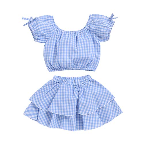 Toddler Baby Girls Outfits Blue Plaidl Off Shoulder Tube Sleeve Crop Tops +Ruffled Shorts Skirt Set Toddler Summer Clothes (Blue Plaid, 3-4 Years)