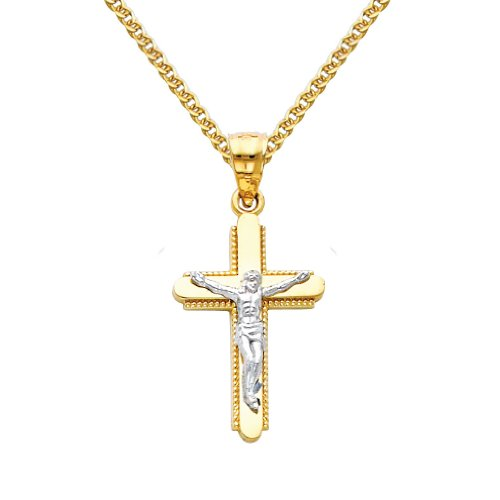 The World Jewelry Center 14k Two Tone Gold Jesus Cross Religious Pendant with 1.5mm Flat Open Wheat Chain Necklace - 20