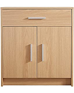 2 Door 1 Drawer Sideboard Cupboard In Oak Effect Norbury Contemporary Design Home Furniture Silver Handles