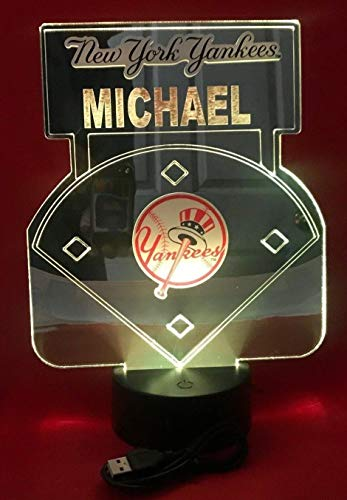 NY Yankees Baseball Mirror New York Stadium Light Lamp LED Remote Personalized Table Lamp, Our Newest Feature - It's Wow, with Remote 16 Color Options, Dimmer, Free Engraved Great ()