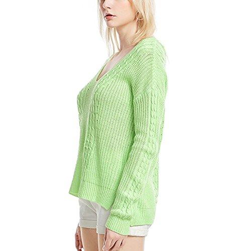 V Donna Indietro Tops Lunga Apri Allentato Casuale Jumper Green collo Sweater Maglia Manica Maglione Maglietta Pullover Xsayjia tdxY7qpwt