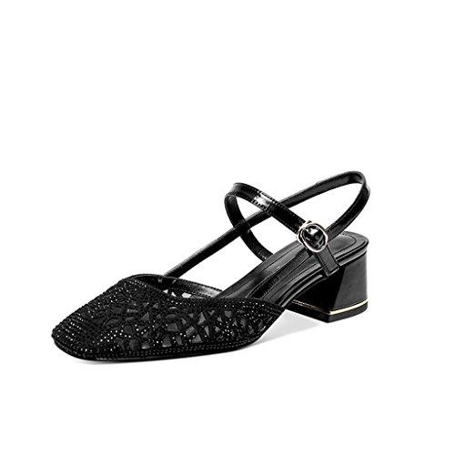 Verano Áspero Tamaño Cabeza Comodidad Cuadrada Sandalias Nueva Juveniles color Hueco Femeninos Diamante Yubin Black Femenina Zapatos Salvaje 36 Individuales Con De Bqt6nxwSp