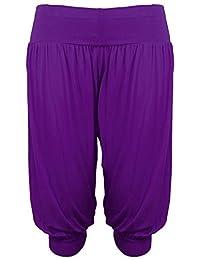 New Ladies Women Plain 3/4 Hareem Crop Ali Baba LadiesTrouser Plus Size