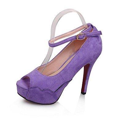 tacón morado cirior Pumps toeplattform High párrafos Stiletto Mujer sintético Piel Ante Mujeres Heels Peep AOA7qwS