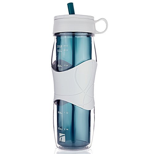 Trudeau Plastic Water Bottle 24 oz, BPA Free Tritan Hard Materials, With flexible silicone straw, Sports Water Bottles w/Cool Cold Drinking Portable Perfect for Outdoor Bicycle & Camping & Gym- Blue by Trudeau
