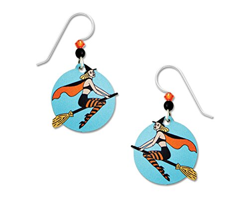 Sienna Sky Halloween Sexy Flying Witch on Broom UV Print Handmade Earrings with Gift Box Made in USA