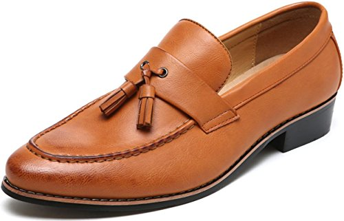 Njiang Men's Classic Tassel Slip-on Loafer Flexible Wingtip Driving Shoes Tuxedo Dress Shoes (12 D(M) US = 280mm, Brown)