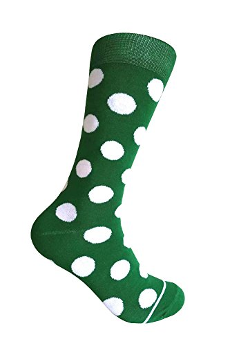 Men's Groomsmen Wedding Party Events Gala Collection Big Dots Dress socks Green/White (White Green Collection)