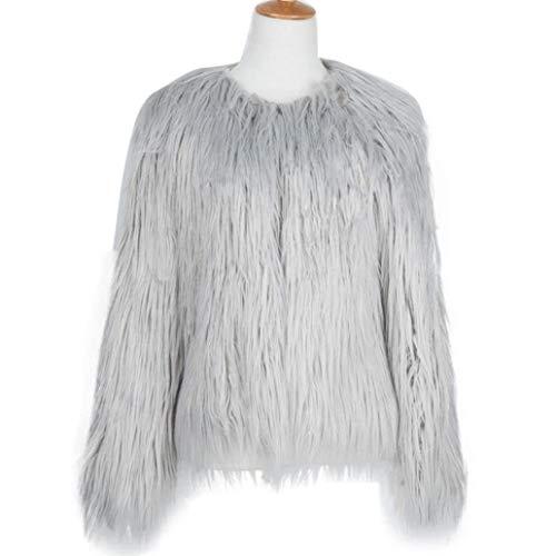 Vintage Manteau Mode Grau Outerwear Blouson Chic Manches Fourrure Costume Haute Cardigan Moderne Unicolore Longues Elgante Femme De Qualit Fourrure Synthtique Hiver Automne Warm Style BgOwnXYq