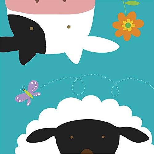 Yuko Lau Farm - Farm Group - Cow and Sheep by Yuko Lau - Ready to Hang Canvas Giclee - 18 x 18 inches