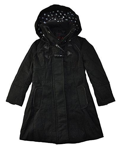 Yoki Toddler Girls Single-Breasted Hooded Faux Wool Long Pea Coat (3T, (Hooded Wool Peacoat)