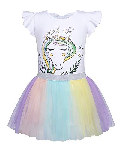 HenzWorld Little Girls Dress Up Casual Cotton Kids Unicorn T-Shirt Tutu Skirts Outfits 4t -