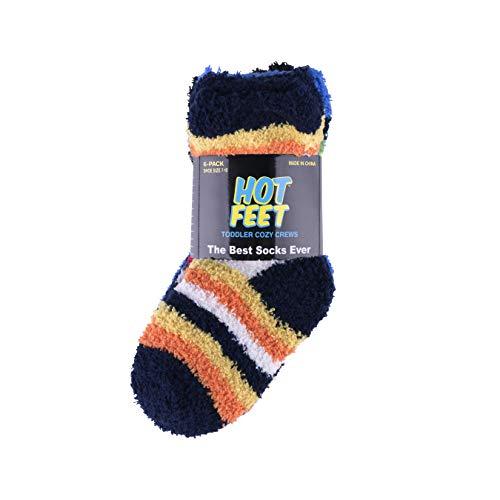 Hot Feet Toddler 6PK Crew Cozy Socks (Light Pink Dot, Royal Dot, Fuchsia Dot, Purple, Navy, Black)