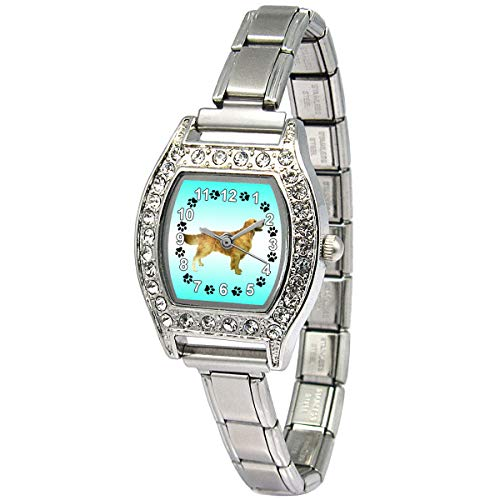 Timest - Golden Retriever - Womens Stainless Steel Italian Charms Bracelet Watch BJ1092 Dogs Womans Italian Charms Watches