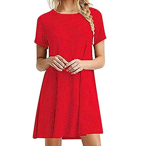 Semen Midi Robe Femme Fille Manche Court Col Rond Tunique Chemise Loose Longue Basique Uni Elastique Casual Grande Taille Printemps Et Rouge