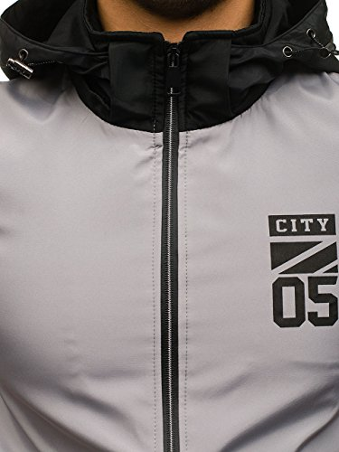 A Zip 72510 Bolf Chiusa Mezza 4d4 Di Mimetica Stile Con Moda Da – Grigio Giacca Stagione Quotidiano Cappuccio Uomo 8Bq0f