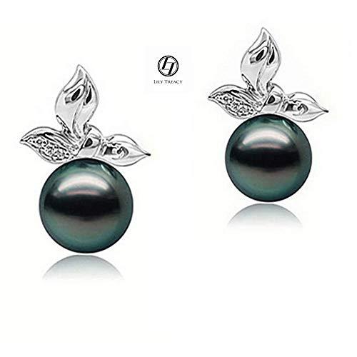 LilyTreacy 10-11mm Tahitian pearl ear studs earrings in Solid Gold & Diamond Tia Earrings