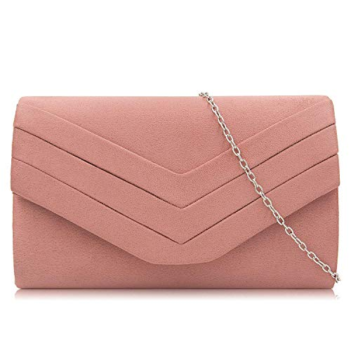 (Milisente Clutch Purses for Women Velvet Envelope Evening Bags Classic Shoulder Clutch Purse (Haze)