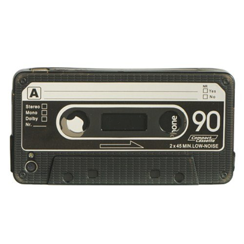 Dream Wireless Cassette Crystal Skin Case for iPhone 4/4S for iPhone 4/4S - Retail Packaging - Smoke/Black (Cassette Tape Case For Iphone 4)
