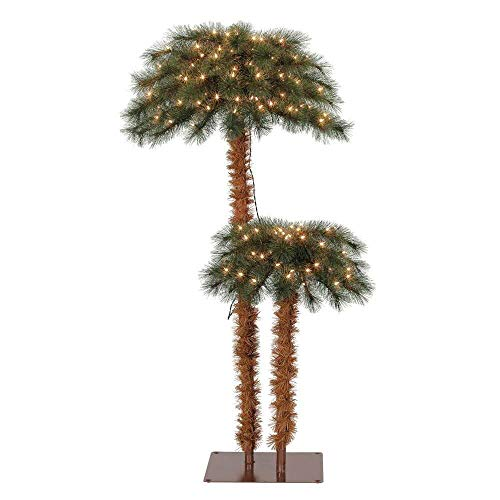 Island Breeze Pre Lit Artificial Tropical Palm Tree with White Lights (Tree Palm Optic Fiber)
