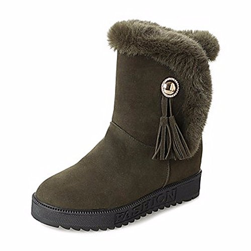 ZHUDJ Women's Shoes Pu Winter Snow Boots Boots Flat Heel Round Toe for Casual Army Green Gray Black Army Green o2J1E